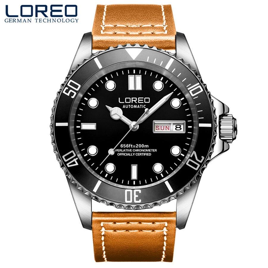 LOREO Men's Luminous Watches Men Waterproof 200m Sport Watch Men Luxury Brand Men's Clock saat reloj hombre montre homme