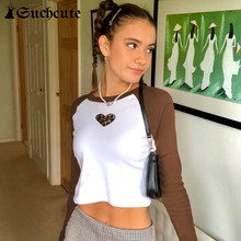 Female Shirt Crop-Tops Skinny Long-Sleeve Y2k Aesthetic Basic Contrast-Color Leopard