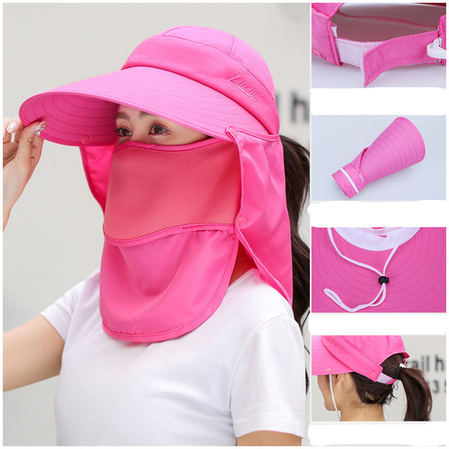 Summer Women Girl Anti Flu virus Hat Mask Sun Protective Breathable Anti-UV Double Layer маска для Headwear Cotton Cycling Cap 2
