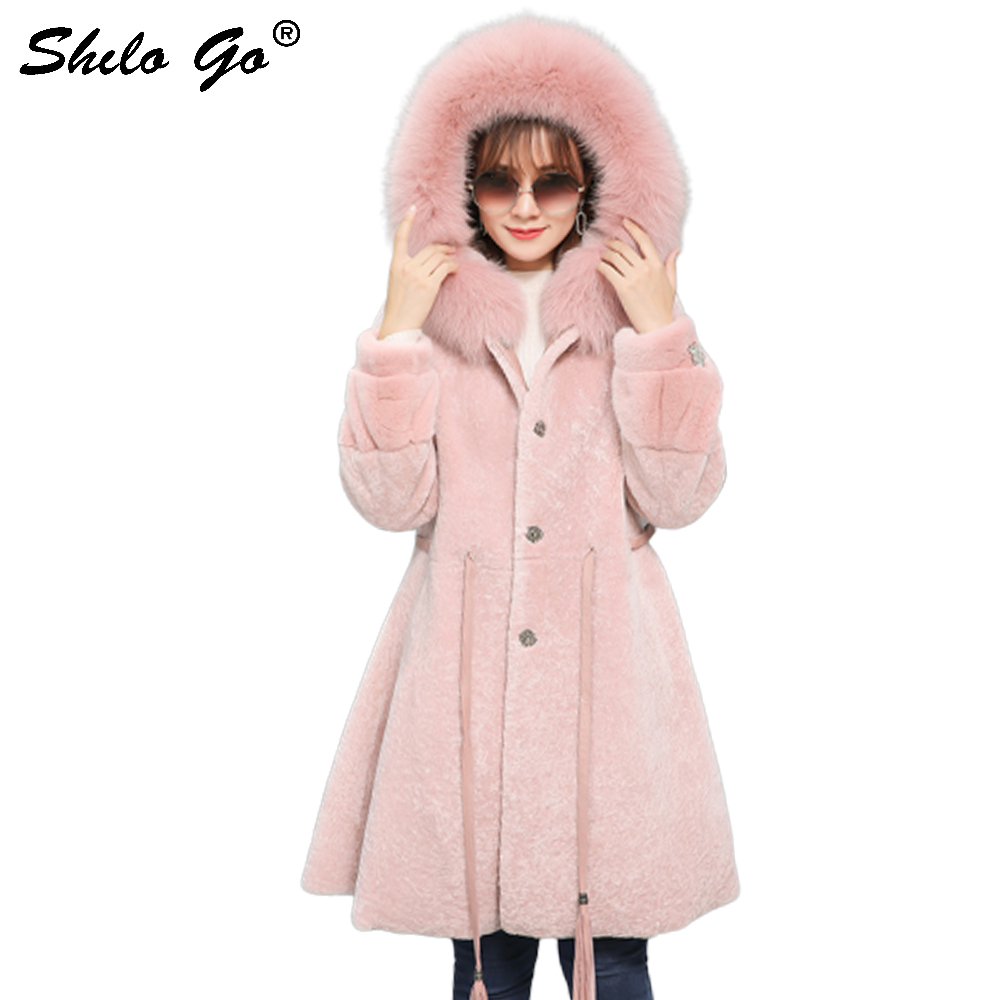 Double Faced Fur Jacket Highstreet Fox Fur Collar Hooded Wrap Waist Bishop Sleeve Lamb Fur A Line Long Coat Women Winter Outwear