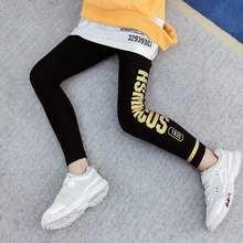 Moda algodão meninas leggings preto magro elástico calças carta de ouro imprimir calças 10 12 anos adolescente meninas outfit