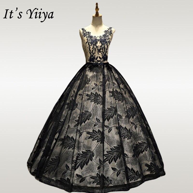 It's YiiYa Wedding Dress Black Appliques Crystal Wedding Dresses O-neck Sleeveless Bridal Gown For Women Vestidos De Novia OY221