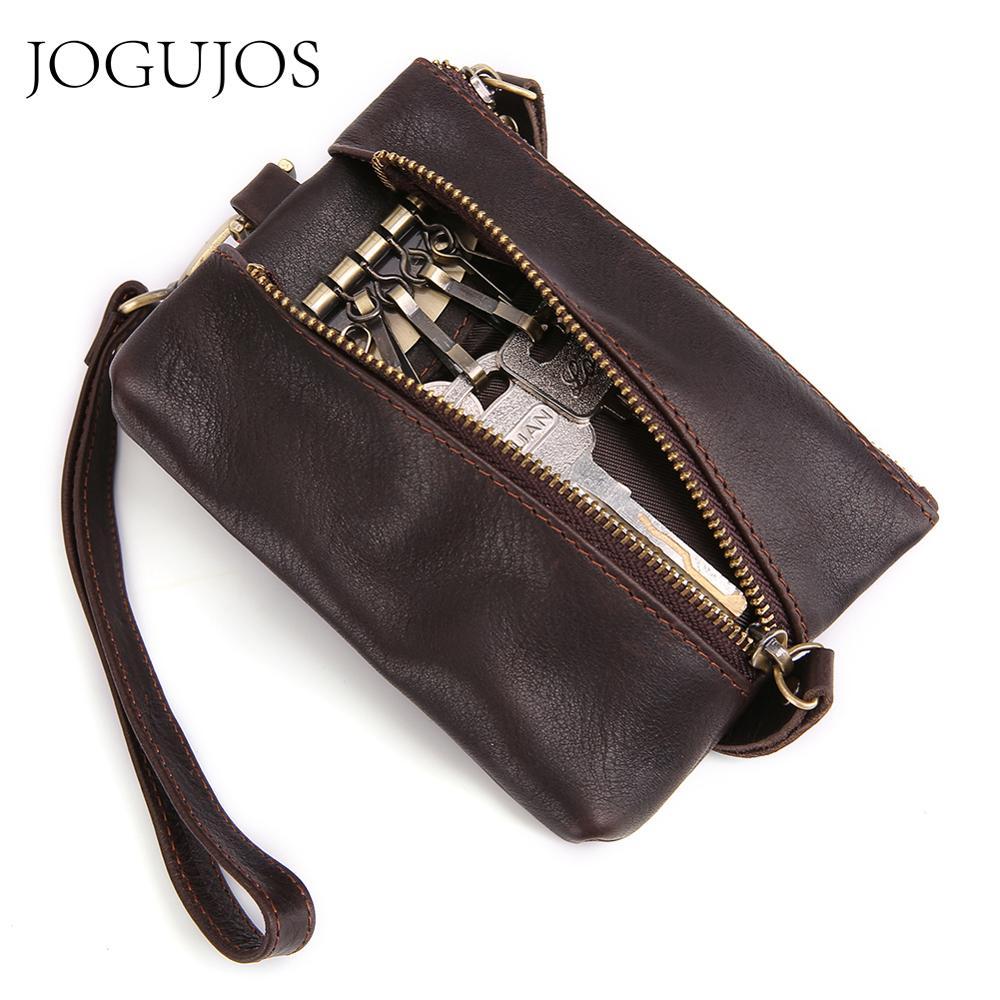 JOGUJOS Genuine Leather Key Holder Unisex Keychain Covers Men Key Wallet Zipper Key Case Bag Small Coin Purse Wallet For Men