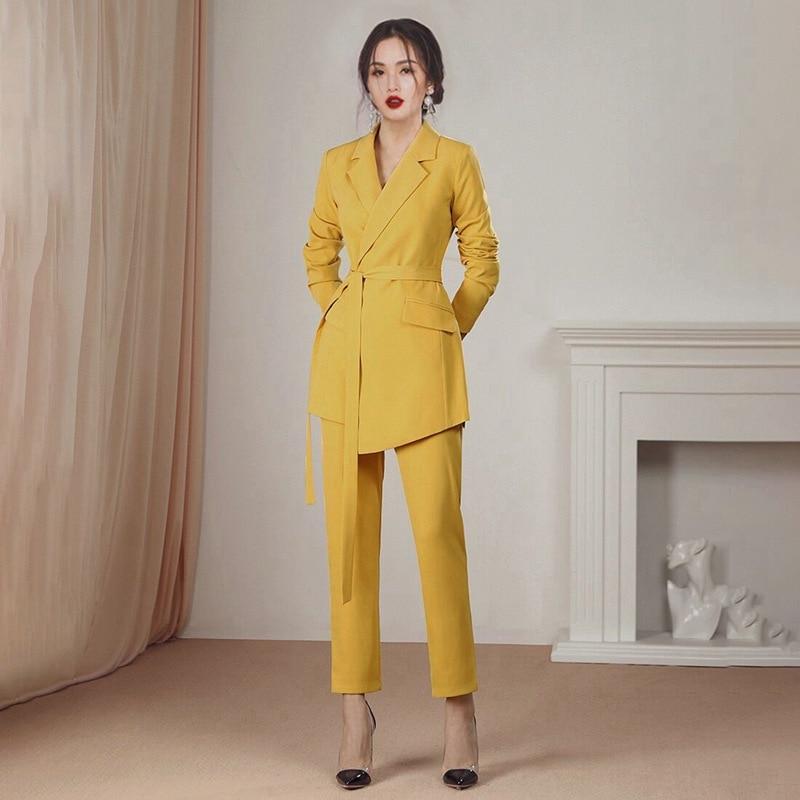 Casual Women's Suit Pants Two-piece Suit 2020 Slim Yellow Lady Suit Jacket Feminine Fashion Professional Pants Small Suit Female