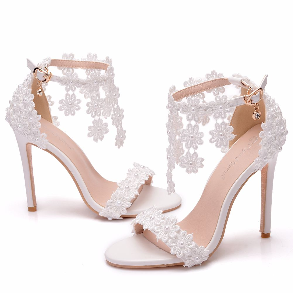 Crystal Queen Women Ankle Strap Sandals White Lace Flowers Pearl Tassel  Super Heel Fine High Heels Slender Bridal Wedding Shoes
