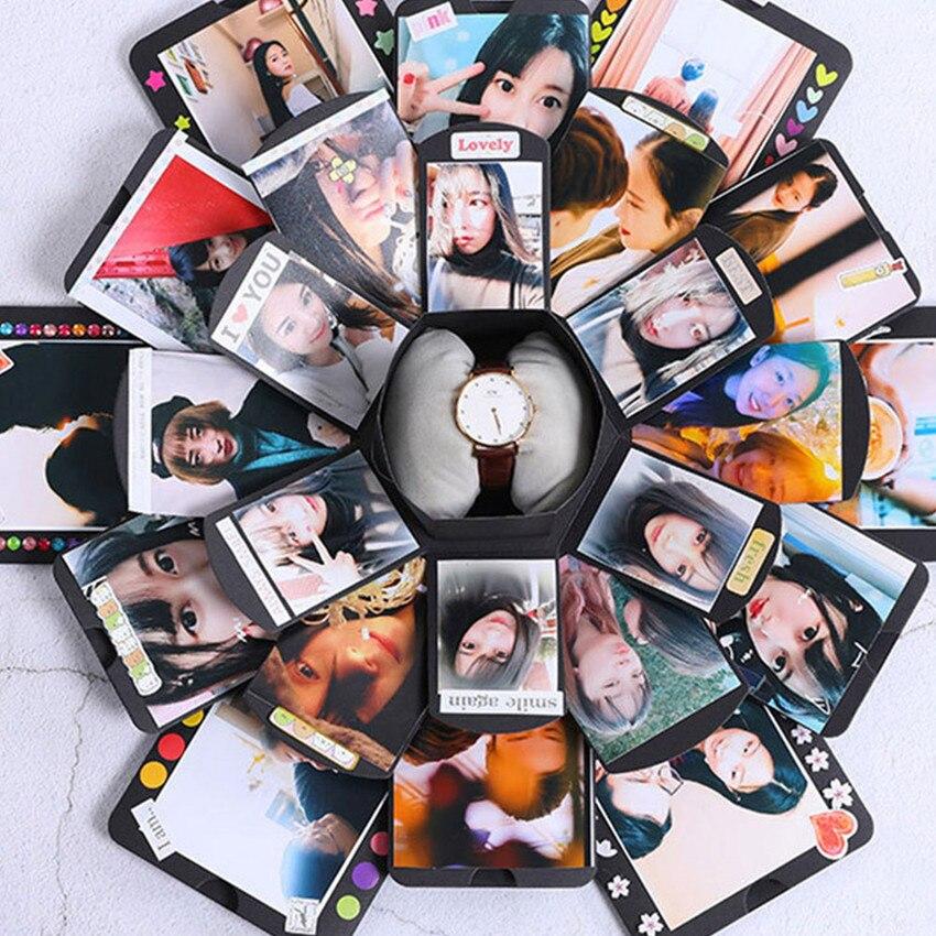 Caja de bomba Hexagonal multicapa sorpresa Confesion DIY álbum de fotos cajas de regalo de aniversario para Bodas de cumpleaños Envío Gratis: grande 200*250 Cm/79 * 99in negro 3D DIY Árbol de la foto PVC calcomanías de pared/adhesivos de la familia Mural arte decoración del hogar