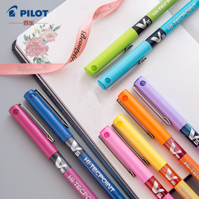 12pcs PILOT BX-V5 Water-based Straight Liquid Gel Ink Pen Stylo Kawaii Office School Pens 12Color Optional  Fine Point Tip 0.5mm