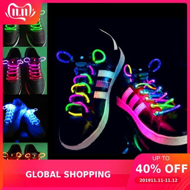 LED Light Shoelaces Luminous Flash Shoe Laces Disco Light Up Glow Stick Strap