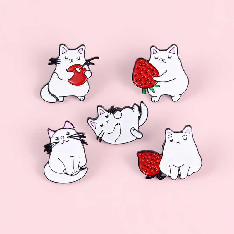 5 pçs gatos morango maçã gatinho esmalte pino broche mochila roupas metal emblema lapela pinos dos desenhos animados jóias presente para crianças