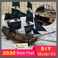 DIY Black Pearl sailing model sets solid wood puzzle hands-on toy Pirates of the Caribbean static ornament children's toys