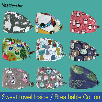 Cotton Multicolor Cartoon Anime Printing Hats Adjustable Scrubs Hat Beauty Salon Nursing Cap Laboratory Pet Shop Scrubs Cap