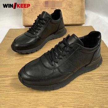 Брендовые мужские кроссовки из натуральной воловьей кожи на плоской подошве, Черная Спортивная Обувь На Шнуровке Для улицы и бега, удобная