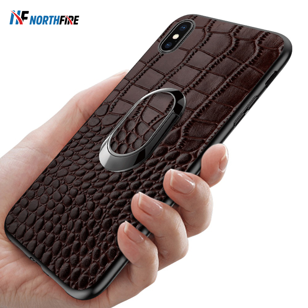 Luxury Genuine Leather <font><b>Case</b></font> For <font><b>iPhone</b></font> XR/XS Max/X 6/6S/<font><b>7</b></font>/8 <font><b>Plus</b></font> <font><b>Ring</b></font> Phone <font><b>Holder</b></font> Stand Business Real Leather <font><b>Cases</b></font> Back Cover image
