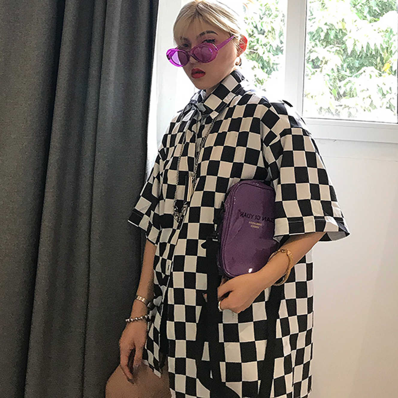 Women Man Checkerboard Plaid Block White Black Loose Oversized Blouse Korean Top Shirt Summer Harajuku Streetwear Long Blusas
