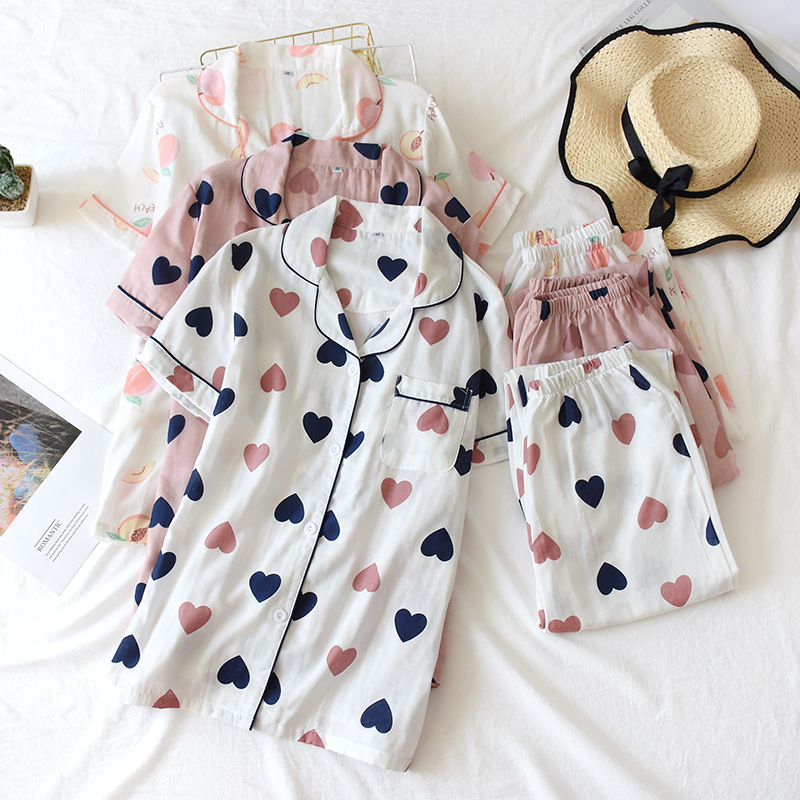 Fdfklak Cotton Pajamas for Women 2 Pieces Summer Sets Short Sleeve Sleepwear Pijama Feminino Loose Pyjama Femme Home Clothes