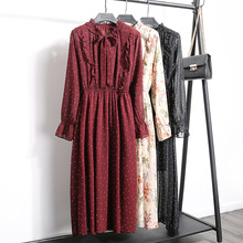 цены на Casual Bow Tie Collar Chiffon Dress Women Ruffles Elastic Waist Mid-Calf Dress Vintage Long Sleeve Flowers Print Dresses Lining в интернет-магазинах