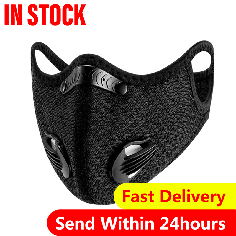 Cycling Face Mask with Filters PM 2.5 Anti-Pollution Cycling Mask Activated Carbon Breathing Valve Bike Mouth Caps Mascarilla 1
