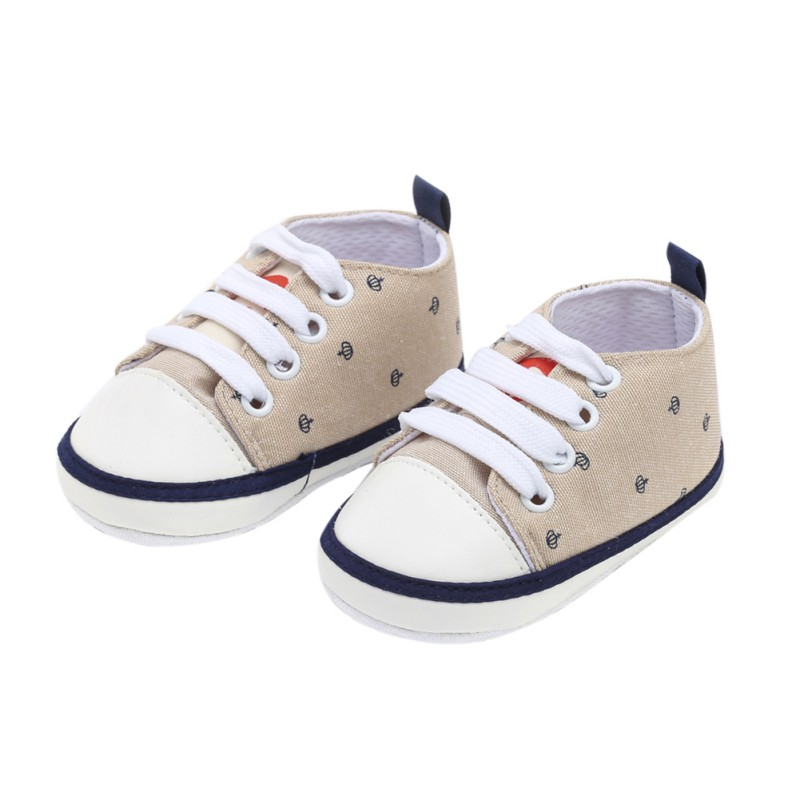 Children's Autumn Toddler Shoes Baby Boy Girl Crown Print Canvas Shoes Children\'s Lace Casual The First Walker