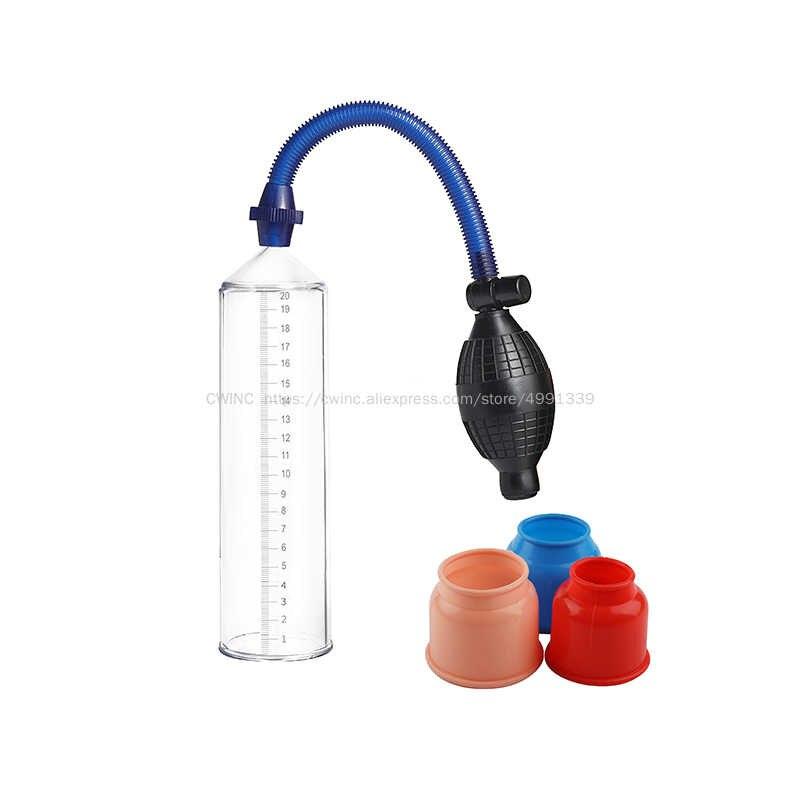 CW0251 Manual Penis Extender Tandu Vacuum Pump Mainan Seks untuk Pria dengan 3 Ukuran Lengan