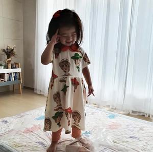 Image 5 - 2020 Ins 뜨거운 아기 소녀 옷 아이 드레스 여자 Vestidos 공주 드레스 Vestidos 여자 레깅스 pyjama 세트 가족 Matchin