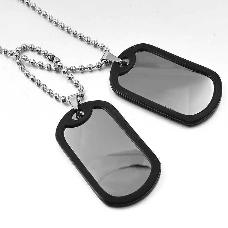 CHIMDOU Army Tactical Style Acero inoxidable 2 Dog Tag Chain Hombres Colgante Collar Joyas Metal liso estampado en blanco