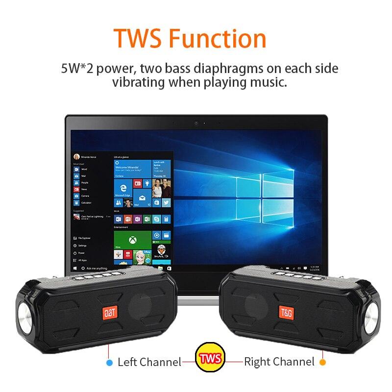 Bluetooth Speaker Portable Wireless Stereo Bass Music Box TWS Outdoor Speaker Support TF/FM Radio/USB/Aux with Flashlight