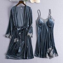 Camisón gris de terciopelo con cuello de pico para mujer, conjunto de 2 Uds., ropa de dormir para el hogar