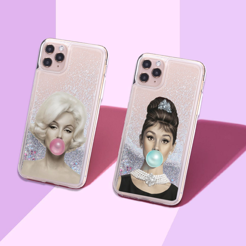 Sexy Audrey Hepburn Marilyn Monroe Sparkle Liquid Real Glitter Phone <font><b>Case</b></font> Cover for <font><b>iPhone</b></font> 11 X XS XR Max Pro 7 8 7Plus 8Plus 6 image