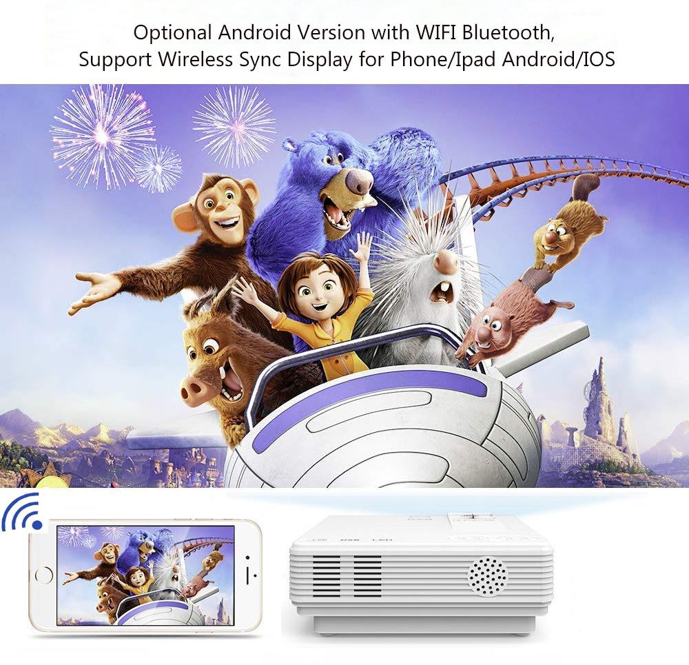 Potężny Mini projektor LED 2600 lumenów obsługuje 1080P bezprzewodowy wyświetlacz synchronizacji dla iPhone/Android telefon wideo Beamer dla kina domowego