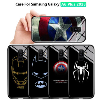 For Samsung Galaxy A7 A6 Plus 2018 A750 Marvel Ironman Shockproof Tempered Glass Back Case Cover Silicone Soft Edge Casing image