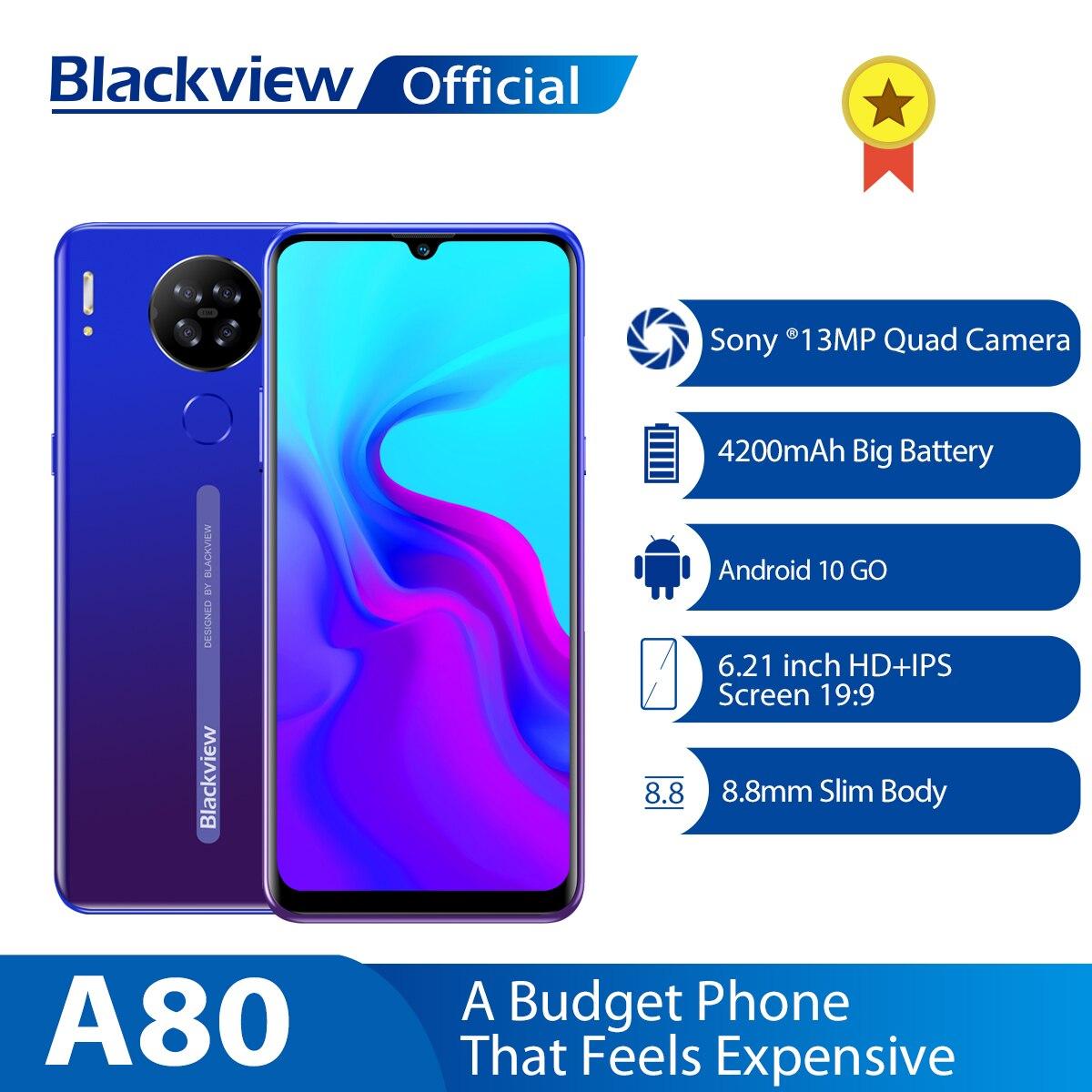 Blackview a80 smartphone android 10.0 go, telefone celular, quad traseiro, câmera de 13mp, tela de 6.21 waterdrop, 2gb + 16gb smartphone 4200mah 4g,