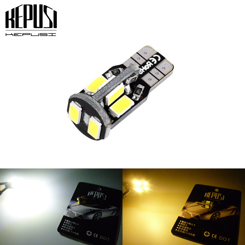 W5W 147 Car LED Bulbs <font><b>T10</b></font> 5630 <font><b>10</b></font> <font><b>SMD</b></font> Trunk Reading Clearance Lamp Canbus Error Free Interior Lights 12V White Warm white image