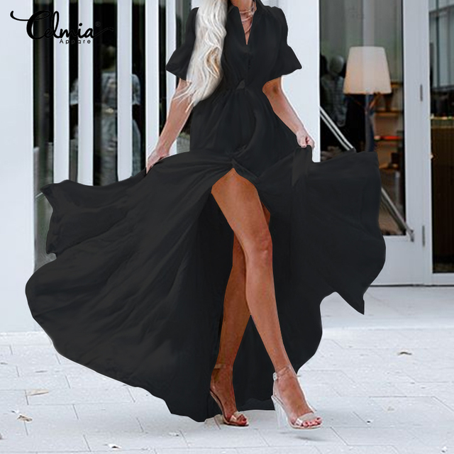 Celmia Bohemian White Ruffled Dress Women Short Sleeve Button Casual Split Sexy Maxi Long Vestidos Swing Party Dress Plus Size 5