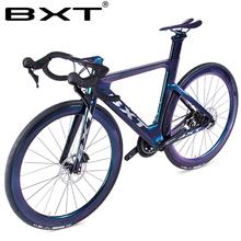 Nowy rower szosowy 700C rama rower szosowy hamulec tarczowy 2 #215 11 prędkości T800 węgla rama rower szosowy węgla wyścigi rowerów kompletny rower szosowy tanie tanio Unisex Z włókna węglowego Mężczyźni 160-180 cm 11 kg 1 6mm Podwójne hamulce tarczowe 0 1 m3 Zwyczajne pedału 180kg