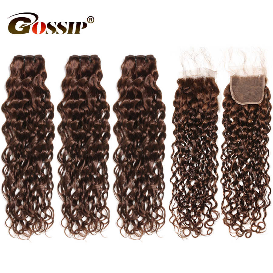 Water Wave Bundles With Closure Brazilian Hair Weave Bundles With Closure 100% Human Hair Bundles With Closure Baby Hair Remy