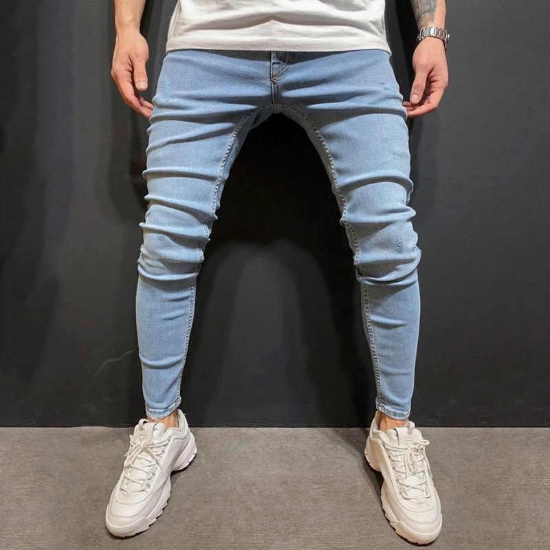Nueva Moda Para Hombres Ropa De Calle Informal Creativa Azul Lavado Slim Jeans Pantalones Casuales Para Hombres Jeans Desgastados Pantalones Vaqueros Aliexpress