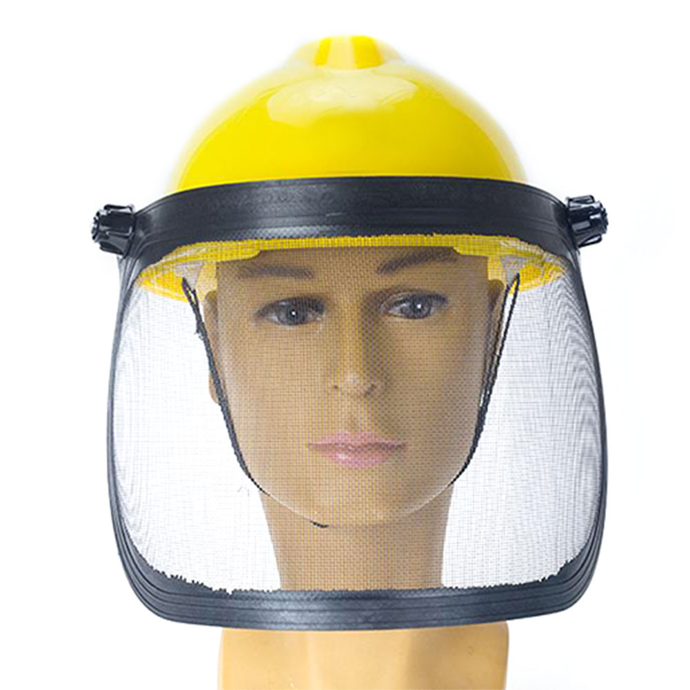 He8c7a09704dd4b2ca034487f1be6e639k Full Face Mesh Grass Trimmer Helmet Outdoor Protective Mask Metal Visor Workplace Garden Ear Defenders 180 Degrees Adjustable