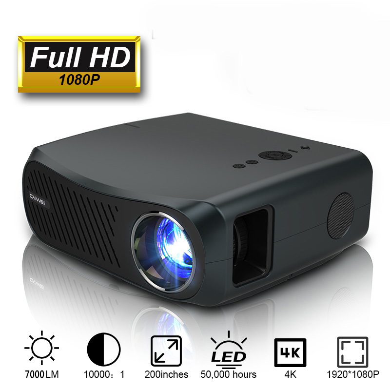 CAIWEI Full HD проектор A12 1920x1080P Android 6,0 (2G + 16G) WIFI светодиодный мини проектор домашний кинотеатр 3D видео проектор для 4K