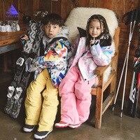 Girls Ski Suit Waterproof Kids Ski Jacket Ski Pants High Quality Winter Warm Clothing Outdoor Hooded Ski Suit 30 Degree