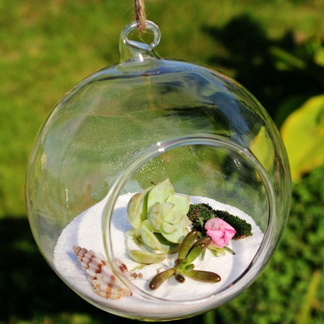 10pcs Clear Decor Ball Globe Shape Transparent Hanging Glass Vase Flower Plants Home Garden Shows 6