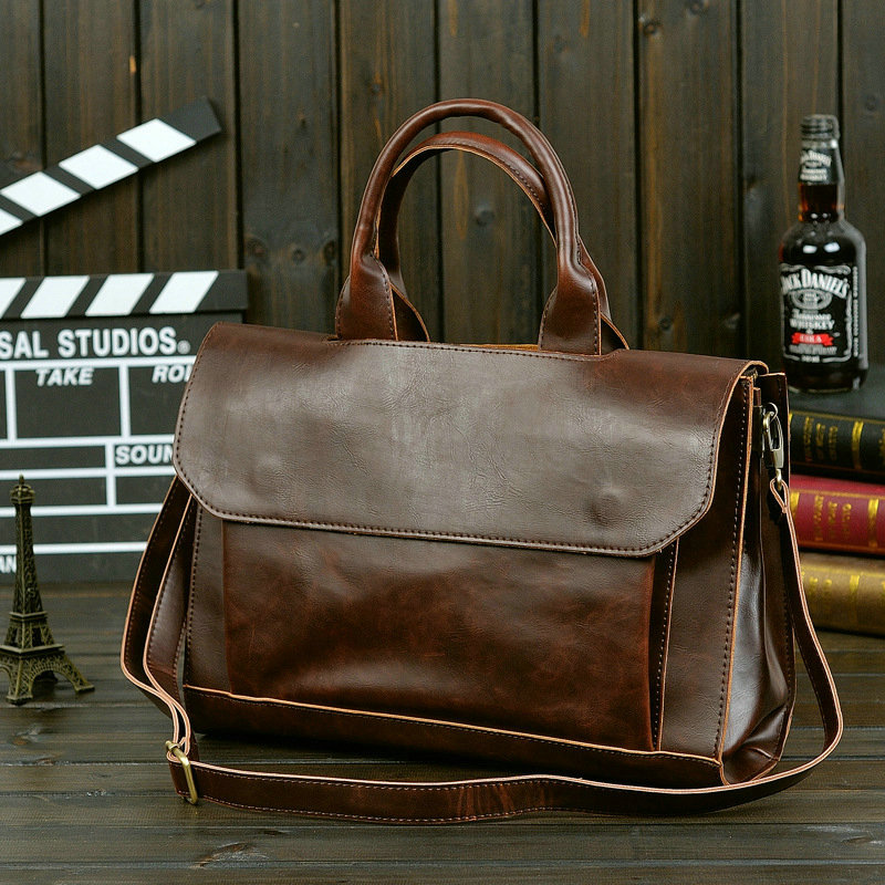2019 Men's Business Crazy Horse Casual Bag Leather Briefcase Men's Tote Bags Brown High Quality Male Business Large Capacity