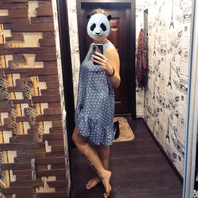 Women Summer Dress Fashion Polka Dot Sleeveless Beach Mini Dress For Women Casual Print Short Loose Blue Sundress 2020 Plus Size 6