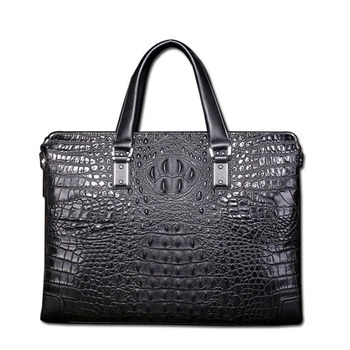 Best New high quality crocodile pattern male briefcase 100% leather business casual men bag shoulder Messenger Free shipping