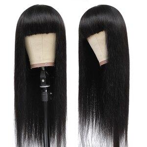 Image 2 - Bangs 기계와 스트레이트 인간의 머리가 발 만든 가발 무료 머리 띠가 발 블랙 여성을위한 자연 색상 레미 자린 헤어