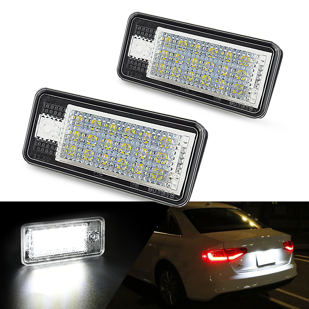 2PCS Canbus Error Free LED License Number Plate Lamp Tail Light Fit Audi A3 A4 B6 B7 A6 A8 S3 Q7 S4 S5 S6 RS3 Car accessories