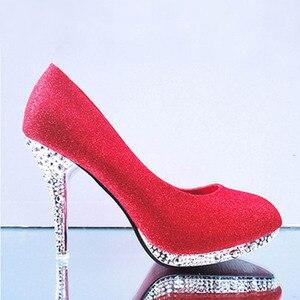 Image 4 - Женские свадебные туфли с кристаллами, женские вечерние туфли для невесты, красные туфли на высоком каблуке, привлекательные женские туфли лодочки, блестящие белые свадебные туфли