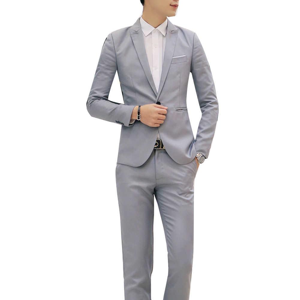 ファッションメンズスーツパンツと固体男性のブレザースリムフィット結婚式の男性新郎タキシードスーツウエディング (ジャケット + パンツ) 衣装オム