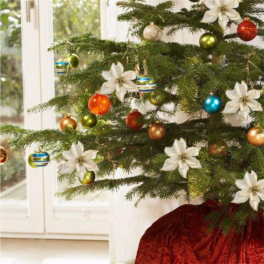 ประดิษฐ์ดอกไม้ตกแต่งคริสต์มาส Glitter ดอกไม้ DIY Home Wedding Xmas Tree PARTY ตกแต่ง sapin de Noel 4FM