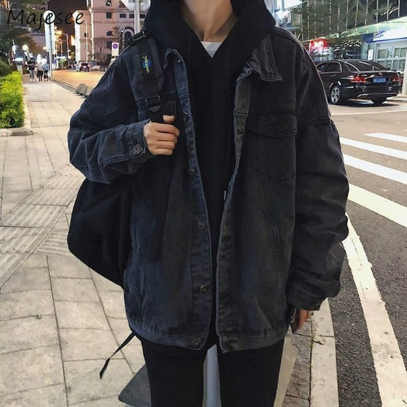 Jacket Men Plus Size Vintage Streetwear Denim Newest Arrival Mens Jackets And Coats Students Black Long Coat Chic Autumn Clothes