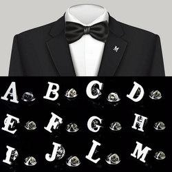 Инициал от A до Z, 26 букв, булавка серебряного цвета, модный английский символ, дизайн, мужская брошь на воротник костюма, лацкан, булавка, ювел...